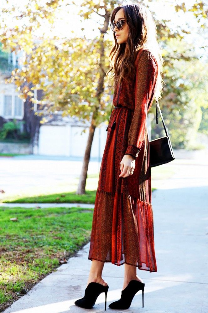 Ashley Madekwe of Ring My Bell goes boho-chic in a printed chiffon maxi dress