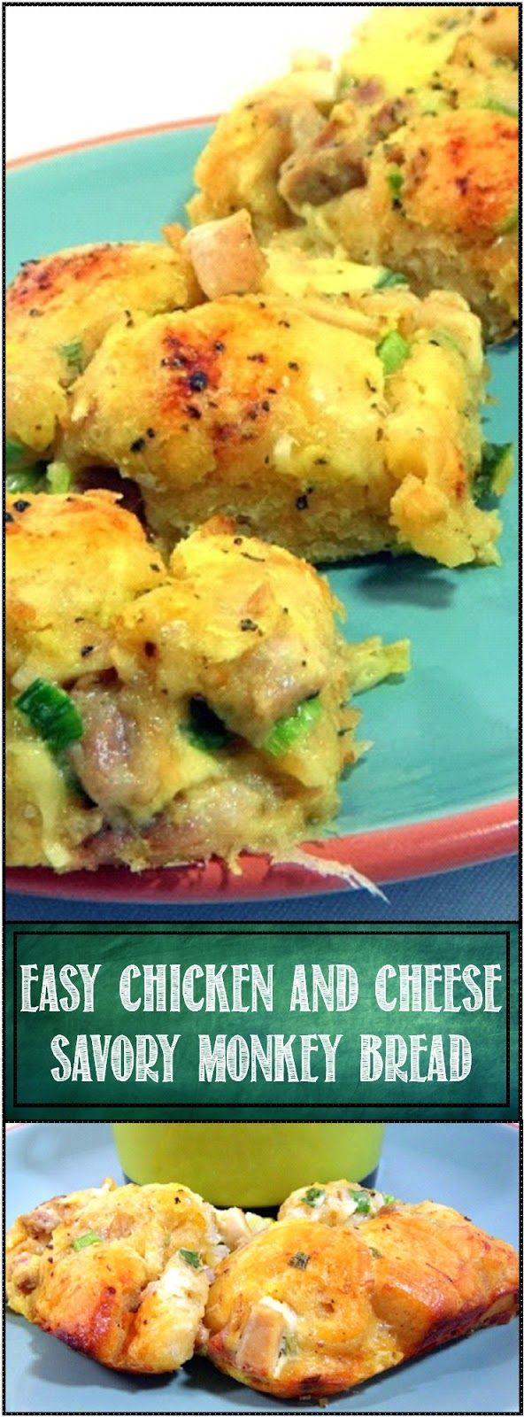 Easy Chicken Cheese Savory Monkey Bread...  I made this and served it as the sandwich half of a Soup and Sandwich to brighten up a bowl of leftover soup. BUT, what an amazing breakfast this would make! Made especially easy with a tube of refrigerator biscuits, but it is the taste that will make you want to make again and again. May be the PERFECT use for a rotisserie Chicken!   Chicken Cheese Savory Monkey Bread - YUM!!!