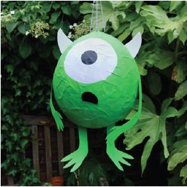 Mike Wa-zowl-ski. Paper mache a small balloon with green tissue paper (water balloons would work great). Add one giant eyeball. Maybe horns and other appendeges. Disney.
