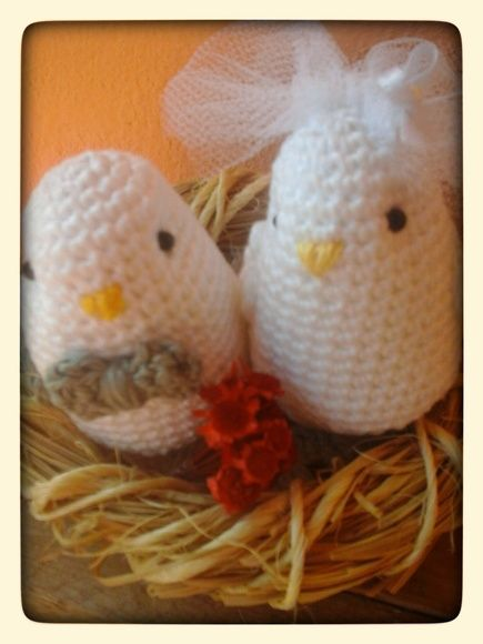 topo de bolo ninho de passarinhos de noivinhos de crochê