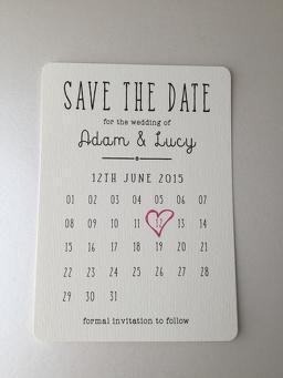 Calendar Save the Date on cream card