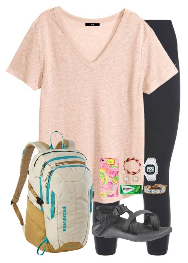 """day 1 ((airplane and island arrival))"" by apemb ❤ liked on Polyvore featuring NIKE, H&M, Chaco, Patagonia, Lilly Pulitzer, Kate Spade, Jewel Rocks, Casio, Chan Luu and sophiesislandvacation"