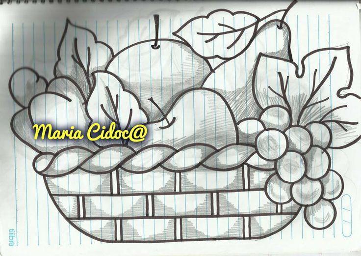 Dibujos De Una Canasta De Frutas Busqueda De Google Painting Patterns Fabric Painting Flower Drawing