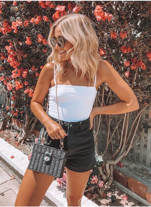 Cute Summer Outfit With Black High Waisted Shorts And White Tank Top Fashion Summer Outfits Cute Summer Outfits