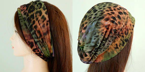 Summer beanie hat-neck scarf- headband, slouchy beanie summer, ponytail hat, summer slouchy hat, jersey beanie, hippie beanie, size S-L