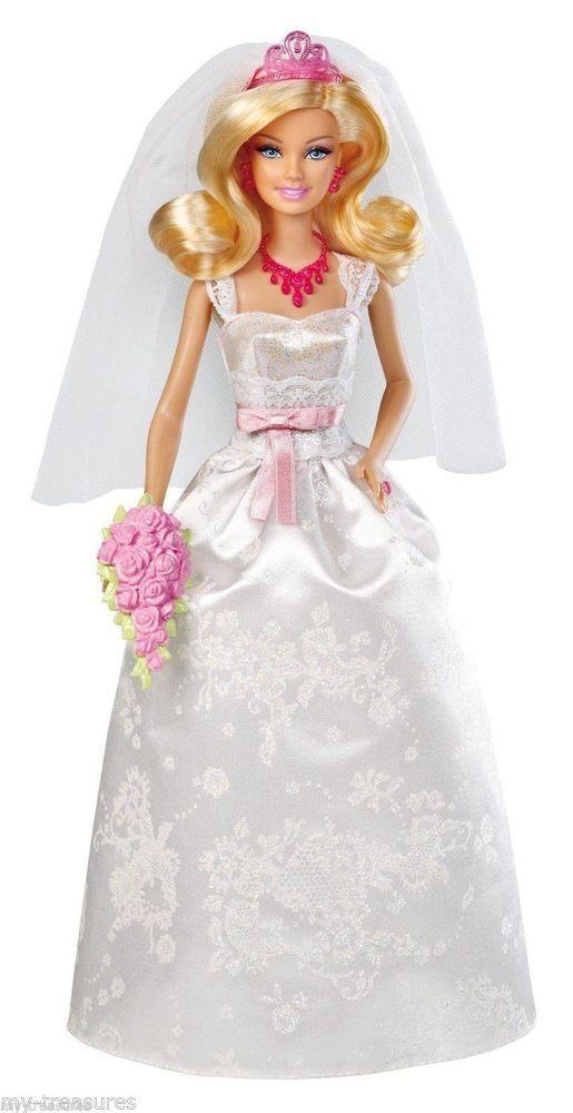 New Barbie Royal Bride Doll Blond In Box Nib Tiara Veil Bouquet Sparkly