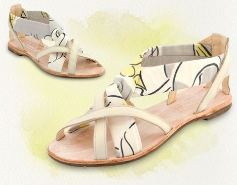 handmade sandals made with vintage 70's fabric £75. so purdy!