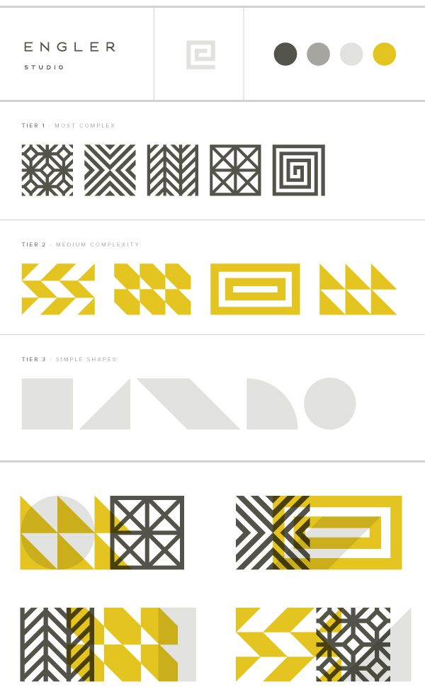 Engler Studio Identity: Branding Guide for secondary / tertiary brand elements / iconography