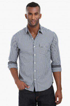 Casual Gingham Herringbone Shirt