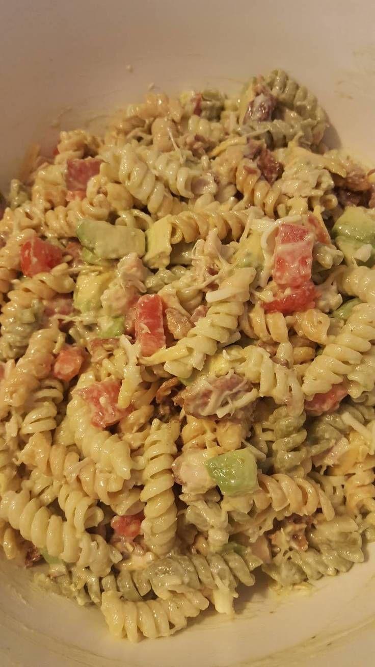 """Chicken-Bacon-Ranch Pasta Salad! """"""""  @allthecooks #recipe #pasta #salad #chicken #side #dinner"""