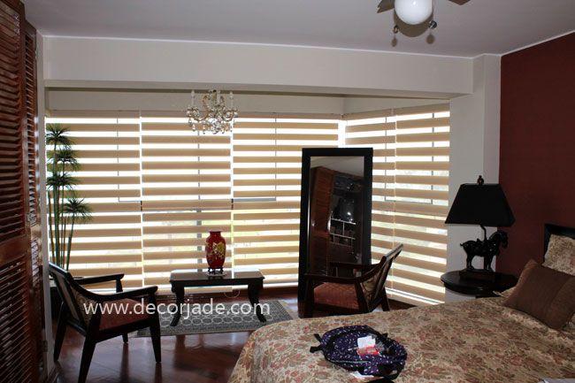 Cortinas roller zebra perú en tela color crema instaladas en ...