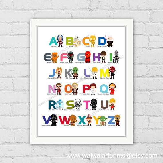 A-Z Nursery Art Print. Star Wars Poster, Star Wars Alphabet, Star Wars Wall Art. Boy Playroom Decor. Boys Bedroom Wall Decor. Item No.: 024