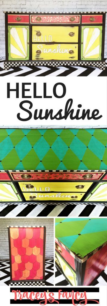 Hello Sunshine - A colorful Painted Buffet using custom Heirloom Tradition paint colors and a mix of handpainted patterns: harlequines, leopard print and checkerboards.  | Painted Furniture and Painting Tips by Tracey's Fancy