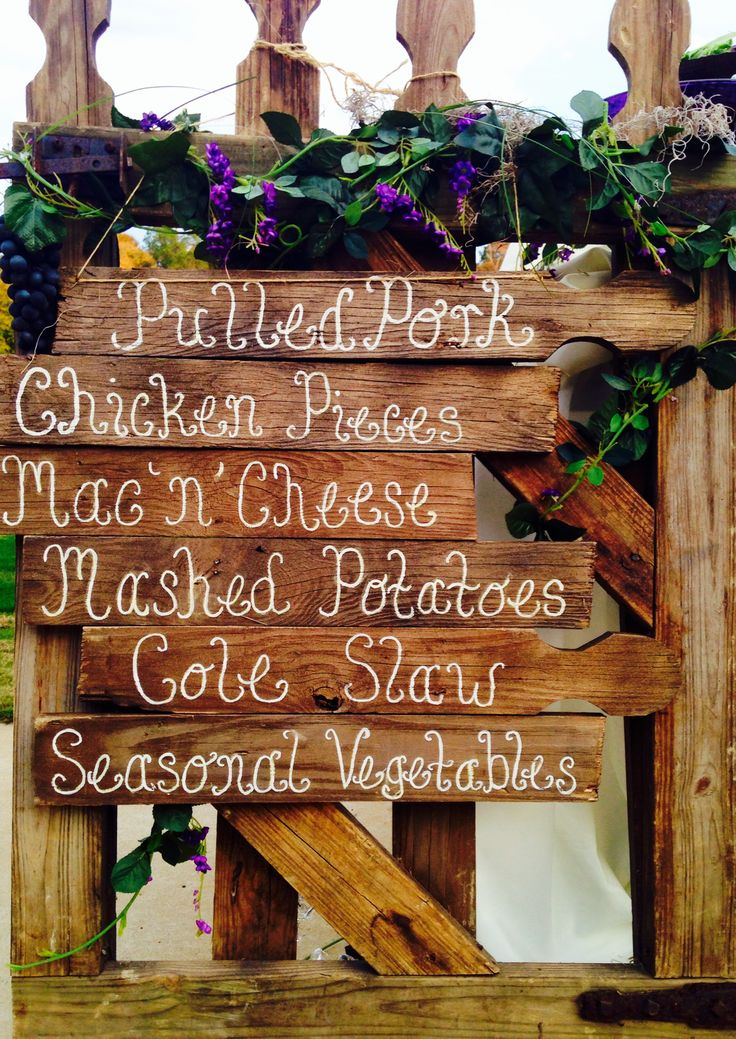 Rustic fall wedding signage  created by the Ladies of Southern Brides on a Budget and catered by Smokin Joe's