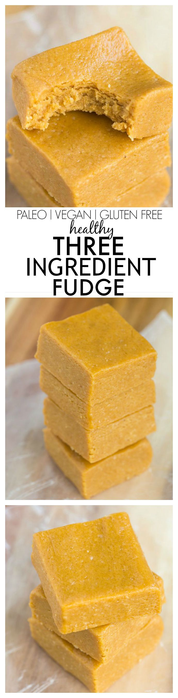 Three Ingredient No Bake Fudge which melts in your mouth and takes 5 minutes! An easy snack or dessert recipe which is Paleo, vegan and gluten free too!