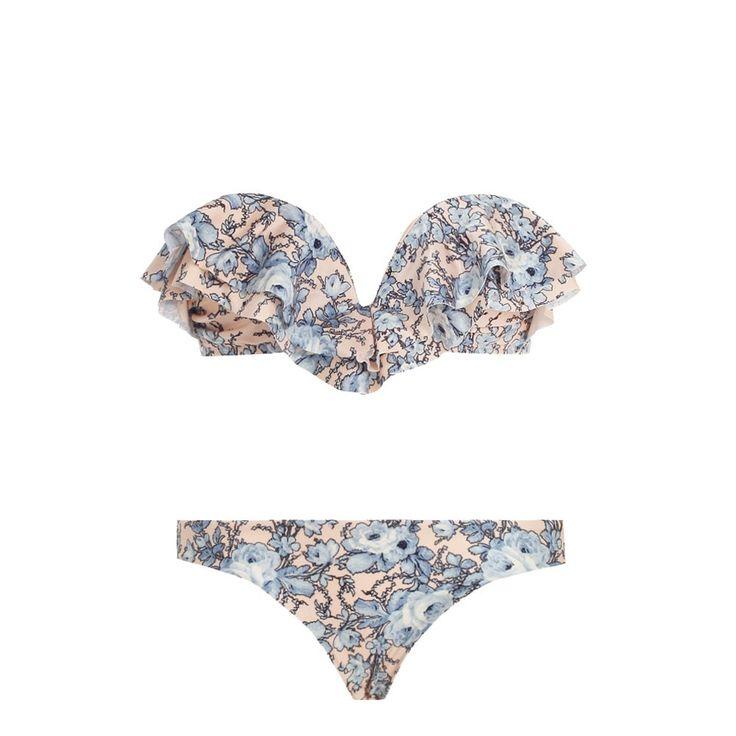 Porcelain Layered Frill Bikini