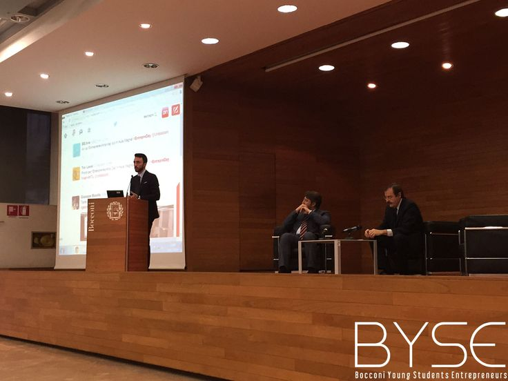"Giuseppe Ragosta, Junior Consultant di BYSE (Bocconi Young Students Entrepreneurs) introduce l'evento ""Entrepreneurship Day"""
