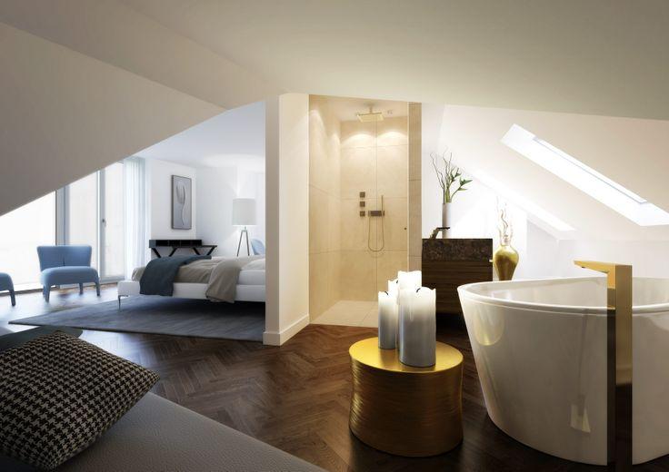 Tuchlauben Wien / Goldenes Quartier – Schlafzimmer mit Bad en Suite