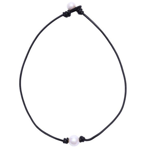 Single Freshwater Pearl Choker Necklace on Leather Cord One Bead Jewel... ($4.90) ❤ liked on Polyvore featuring jewelry, necklaces, jewelry & watches, white, white choker, white choker necklace, jewel choker, freshwater cultured pearl necklace and fresh water pearl necklace