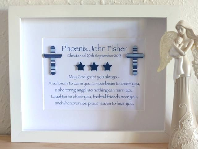 Baby Baptism Gift Ideas Pinterest : Baby boys christening poems cross and stars at