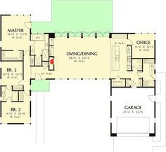 Plan 69619AM: 3 Bed Modern House Plan with Open Concept Layout