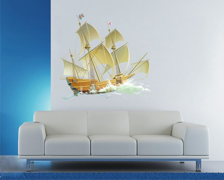 cik669 Full Color Wall decal barque frigate ship sails sea waves living bedroom