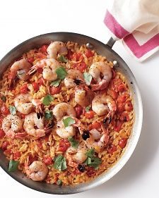 Skillet Shrimp and Orzo.  Cooking the ingredients in one pan allows the orzo to absorb all the wonderful flavors.