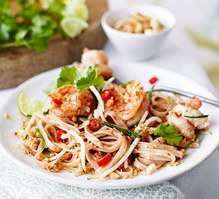 Perfect pad Thai: toss plump prawns and beansprouts with rice noodles in this authentic, yet quick and easy version of a takeaway favourite