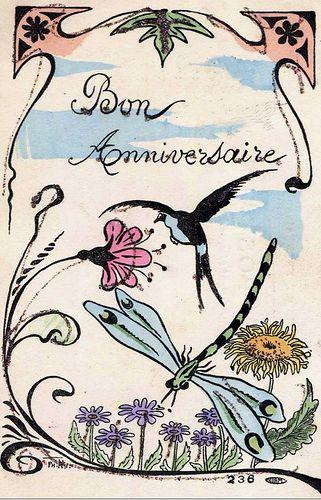 Bon Anniversaire 1900 bird & dragonfly