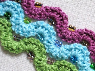 Winding Lane Bracelet ~ Free Crochet Pattern with Video Tutorials by Sue of Mrs. Micawber's Recipe for Happiness