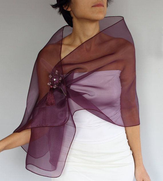 Organza Shoulder Wrap Stole Scarf and Tatting Lace by mammamiaeme, $46.00