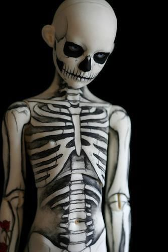 Skeleton painted on kid - ( my bad ball joint doll lol)l