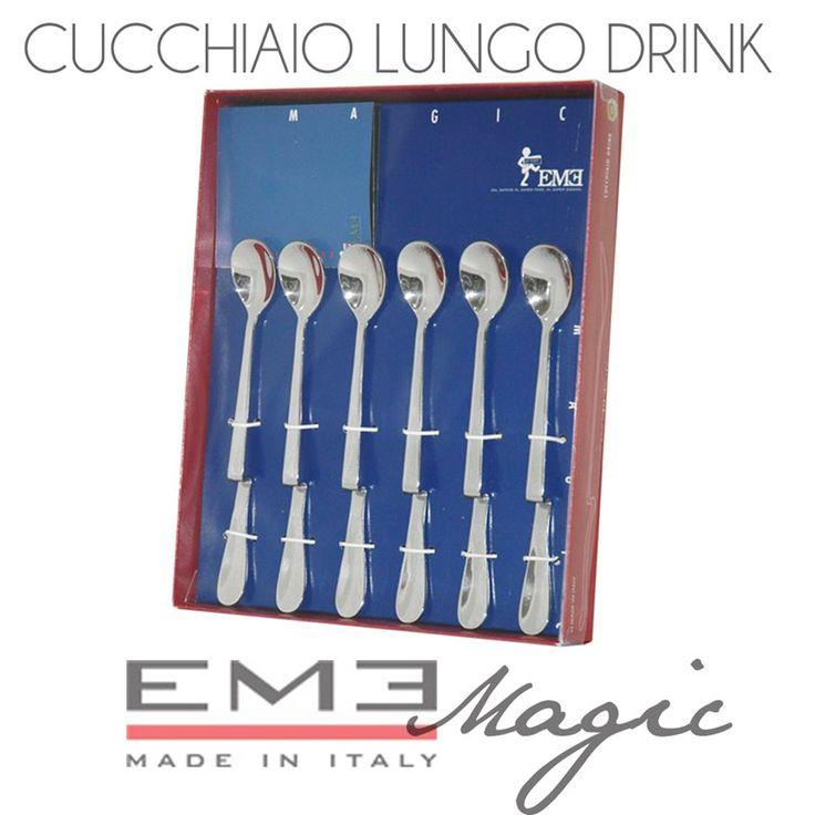 Cucchiaini Latte drink 6 pezzi Magic lunghezza 190 mm per miscelare spremute, cocktail e latte macchiato   EME   Stilcasa.Net: bomboniere