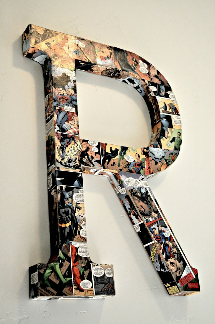 Adorable Modge Podge Comic Book Letters!!! So Cute in a Little Boys Room!!! #boysroom #kidsspace #comicbooks