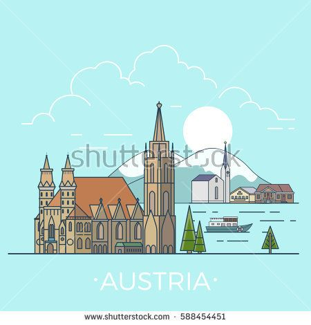 Austria country design template. Linear Flat famous historic sight; cartoon style web site vector illustration. World travel and showplace in Europe, European vacation collection