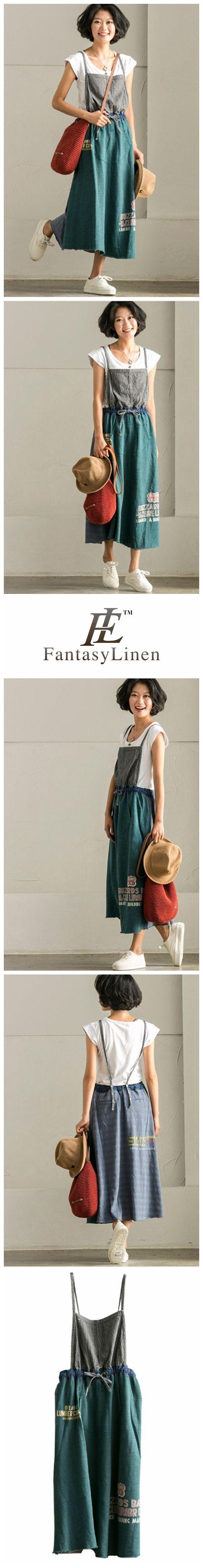 Korean Style Vintage Denim Suspender Skirt  Q7891