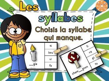 Les syllabes - choisis la syllabe qui manque - 60 cartes. Jeu idéal pour pratiquer la notion de syllabes dans les centres de littératie.