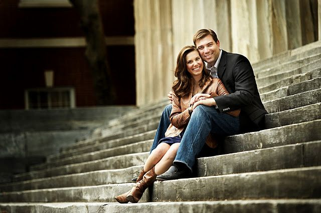 Mrs. Turkey's engagement photo on the stairs of the Second Bank of the US (Philadelphia). Photo by Philip Gabriel Photography.