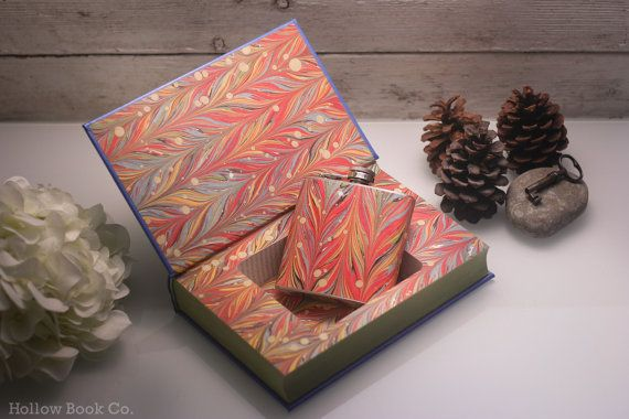 Hollow Book Safe & Marbled Flask  Pride and by HollowBookCo, $55.00