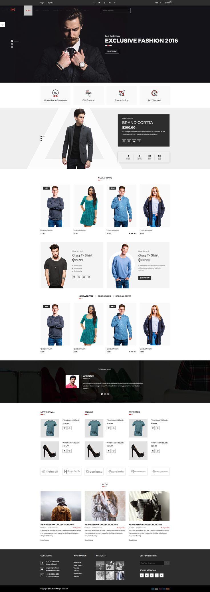 Clothing - eCommerce Fashion Template. We have included 4 defined layouts for home page to give you best selections in customisation.