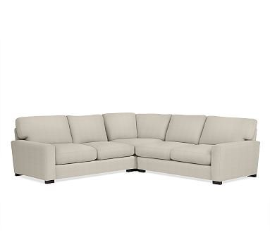 Turner Square Arm Upholstered 3-Piece L-Shaped Corner Sectional with Bronze Nailheads, Down Blend Wrapped Cushions, Sunbrella(R) Performance Slub Tweed Pebble