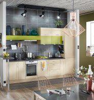 Cuisine verte alliée à un bois clair, Leroy Merlin - Marie Claire Maison