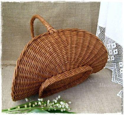 """Купить """"Мой сад"""" Корзиночка плетеная - коричневый, корзинка плетеная, Из бумаги, оригинальная корзинка"""