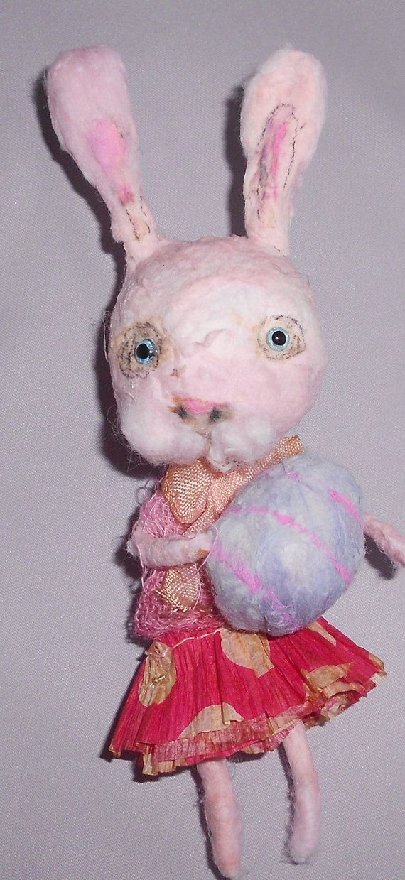 pink easter bunny  Ooak spun cotton ornie by papermoongallery, $29.00