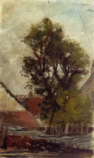 Paul Gauguin (1848-1903) - Albero nel cortile della fattoria - 1874 - Collezione privata