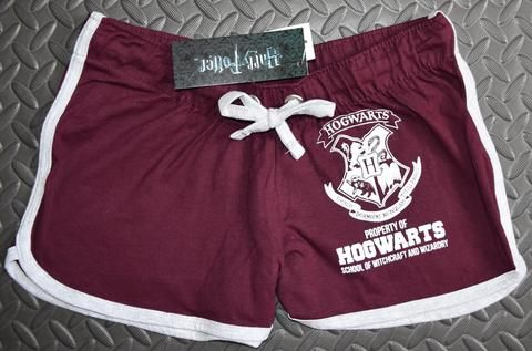 PRIMARK HOGWARTS SHORTS HARRY POTTER BURGUNDY CREST NEW 6-20