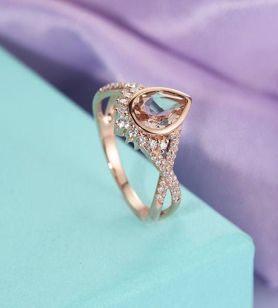 Morganite engagement ring Rose gold engagement ring Vintage Art deco Antique Diamond Twisted Wedding Women Bridal Set Jewelry Promise Gift