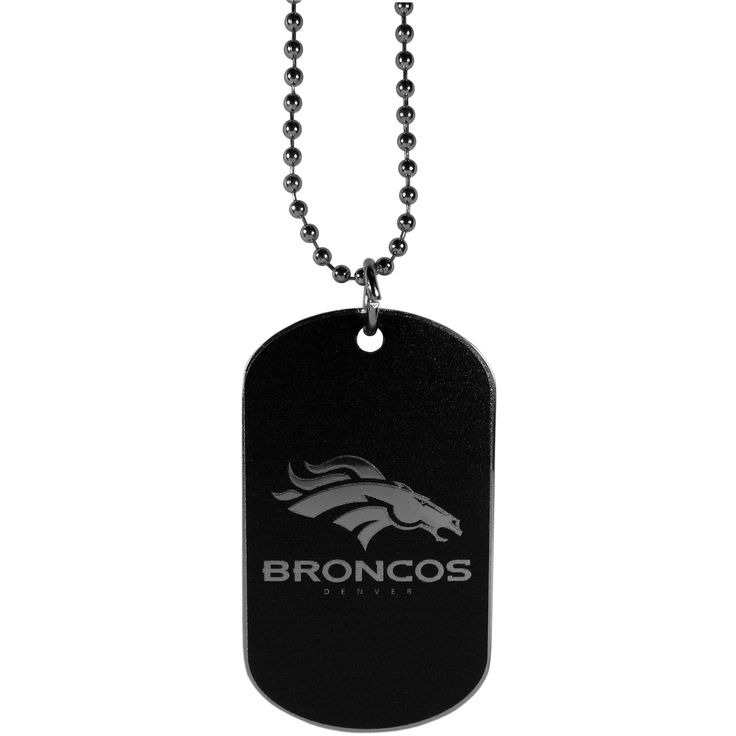 """Checkout our #LicensedGear products FREE SHIPPING + 10% OFF Coupon Code """"Official"""" Denver Broncos Chrome Tag Necklace - Officially licensed NFL product 26 inch ball chain with ball and joint clasp Classic dog tag style necklace Sporty, monochromatic style Perfect accessory for any Denver Broncos fan - Price: $16.00. Buy now at https://officiallylicensedgear.com/denver-broncos-chrome-tag-necklace-ftnb020"""