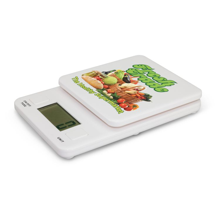 What better way to keep your company logo in front of your customers with this useful extremely accurate set of kitchen scales. Weighs in grams, kilograms, ounces or pounds up to 2kgs and has a tare function. Look at that huge branding area.