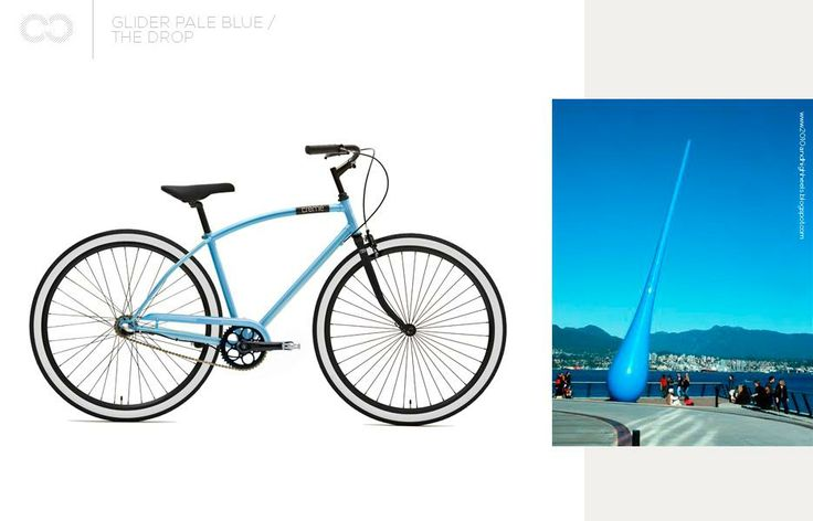 ,,displays a technical perfection, artificially coloured to correspond to the sky, and contrasting with the pale yellow of the mass of sulfur visible on the horizon…the sculpture creates a visual dialogue with the architecture of the convention centre…it marks the interface between land and water, between nature and technology.''  as blue as Glider...  Glider pale blue + The Drop  #bike #creme #cycles #cremecycles #cycling #ride #mybike #freedom #lifestyle #art #life #love #city…